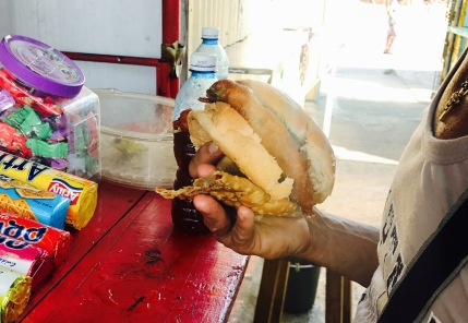 Fried fish at the bus station